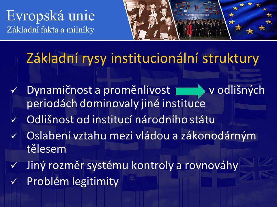 Evropská unie Základní fakta a milníky Základní rysy institucionální struktury  Dynamičnost a proměnlivost v odlišných periodách dominovaly jiné inst