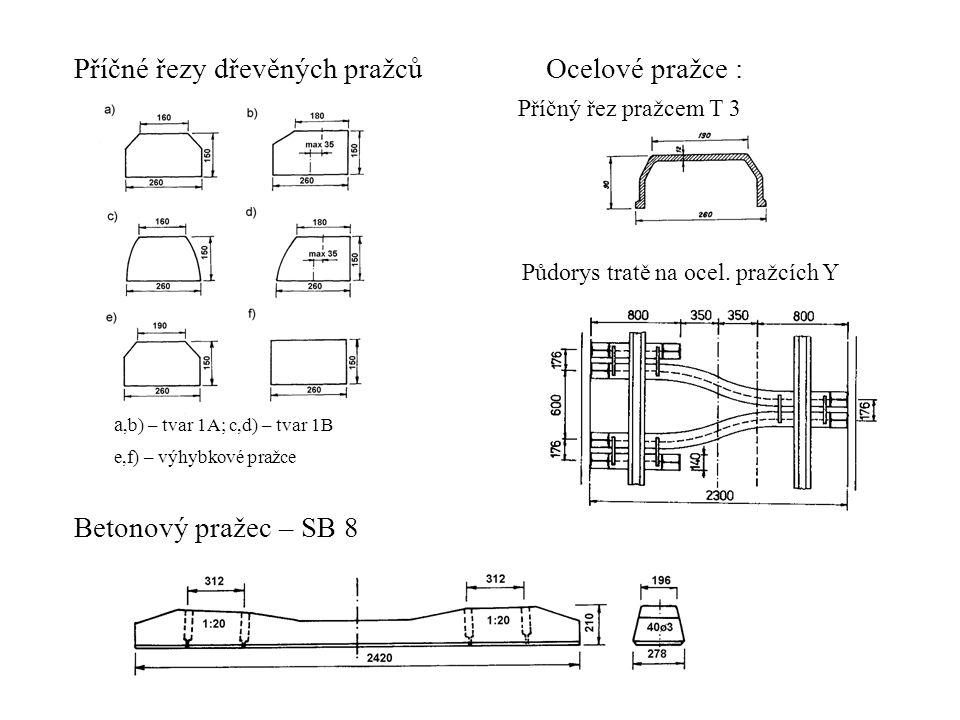 Příčné řezy dřevěných pražců a,b) – tvar 1A; c,d) – tvar 1B e,f) – výhybkové pražce Betonový pražec – SB 8 Ocelové pražce : Příčný řez pražcem T 3 Půdorys tratě na ocel.