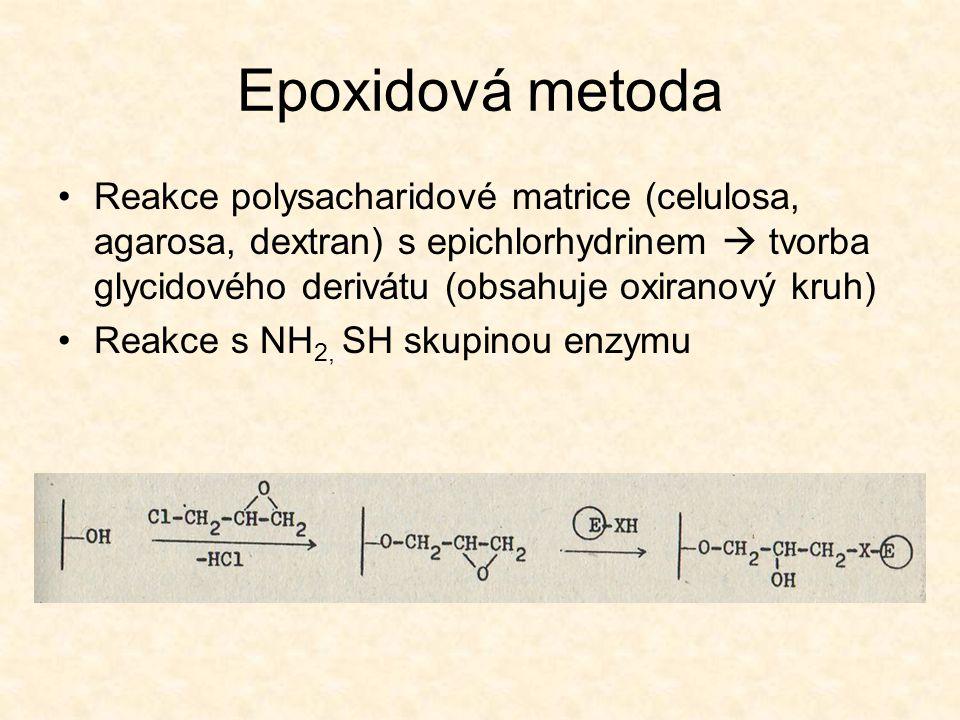 Epoxidová metoda •Reakce polysacharidové matrice (celulosa, agarosa, dextran) s epichlorhydrinem  tvorba glycidového derivátu (obsahuje oxiranový kruh) •Reakce s NH 2, SH skupinou enzymu