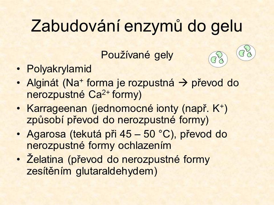 Zabudování enzymů do gelu Používané gely •Polyakrylamid •Alginát (Na + forma je rozpustná  převod do nerozpustné Ca 2+ formy) •Karrageenan (jednomocné ionty (např.