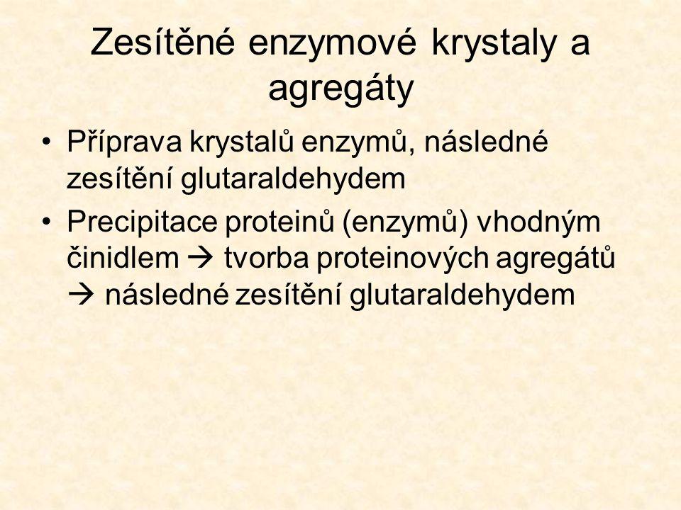 Zesítěné enzymové krystaly a agregáty •Příprava krystalů enzymů, následné zesítění glutaraldehydem •Precipitace proteinů (enzymů) vhodným činidlem  tvorba proteinových agregátů  následné zesítění glutaraldehydem