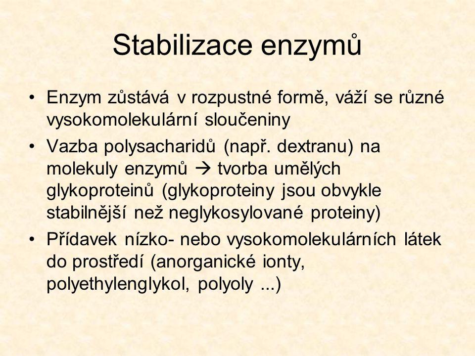 Stabilizace enzymů •Enzym zůstává v rozpustné formě, váží se různé vysokomolekulární sloučeniny •Vazba polysacharidů (např.