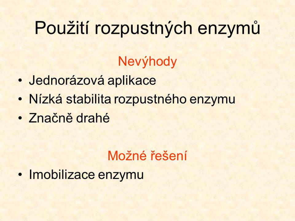 Použití rozpustných enzymů Nevýhody •Jednorázová aplikace •Nízká stabilita rozpustného enzymu •Značně drahé Možné řešení •Imobilizace enzymu