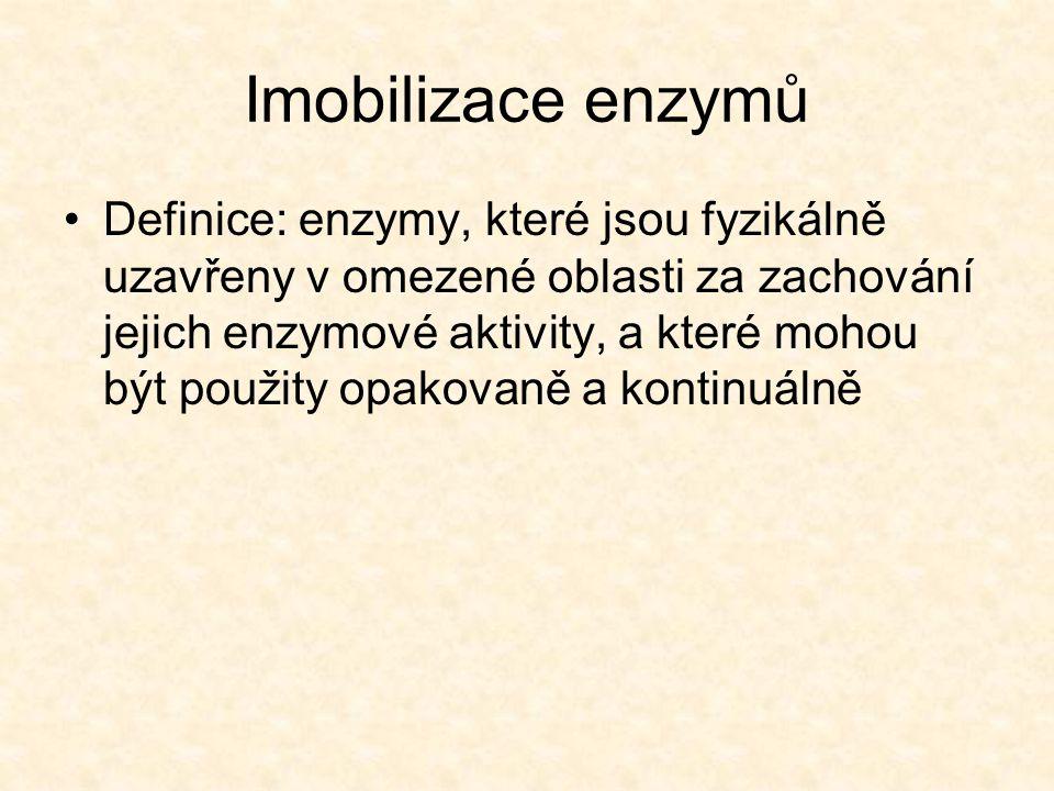 Imobilizace enzymů •Definice: enzymy, které jsou fyzikálně uzavřeny v omezené oblasti za zachování jejich enzymové aktivity, a které mohou být použity opakovaně a kontinuálně