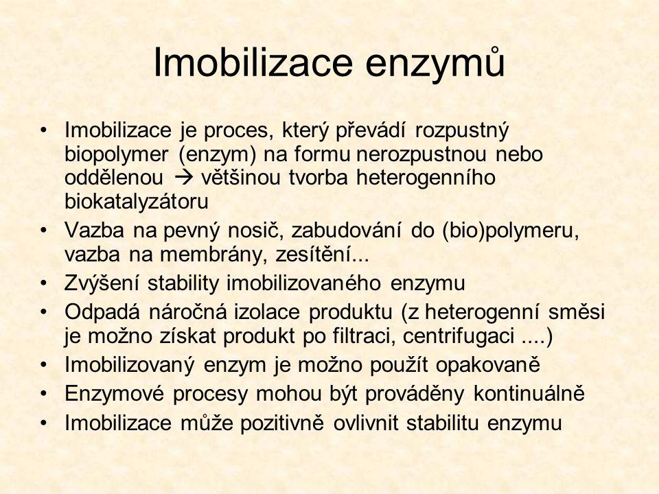 Imobilizace enzymů •Imobilizace je proces, který převádí rozpustný biopolymer (enzym) na formu nerozpustnou nebo oddělenou  většinou tvorba heterogenního biokatalyzátoru •Vazba na pevný nosič, zabudování do (bio)polymeru, vazba na membrány, zesítění...