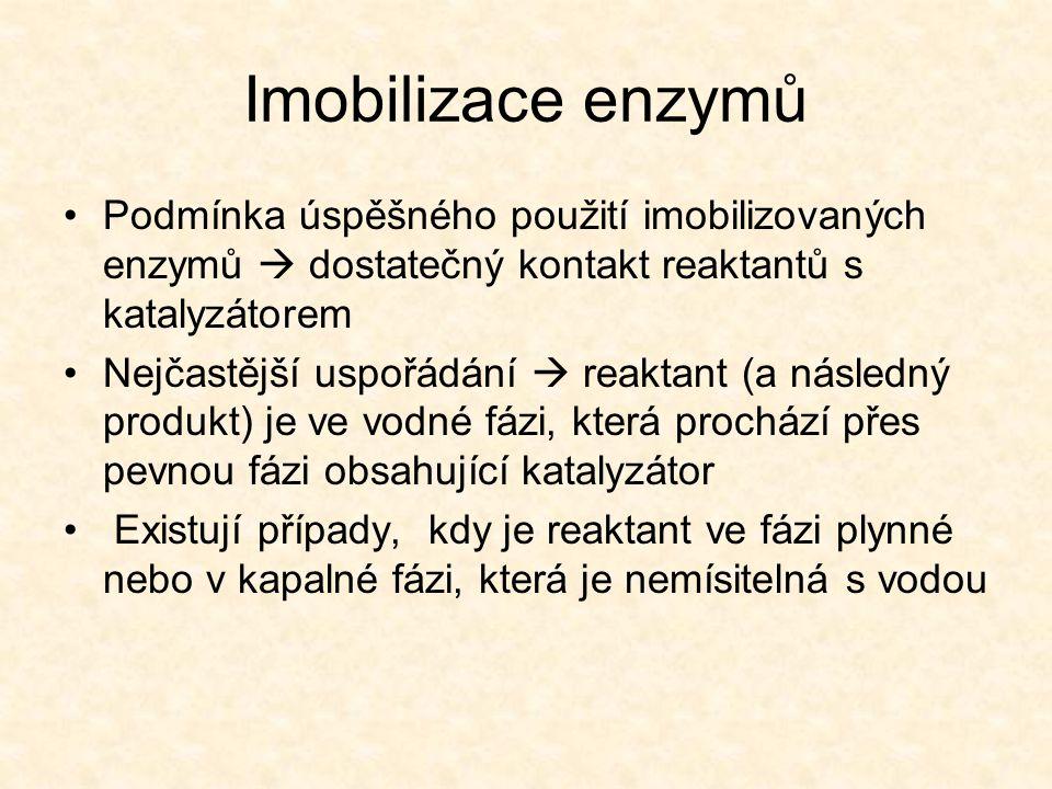 Imobilizace enzymů •Podmínka úspěšného použití imobilizovaných enzymů  dostatečný kontakt reaktantů s katalyzátorem •Nejčastější uspořádání  reaktant (a následný produkt) je ve vodné fázi, která prochází přes pevnou fázi obsahující katalyzátor • Existují případy, kdy je reaktant ve fázi plynné nebo v kapalné fázi, která je nemísitelná s vodou