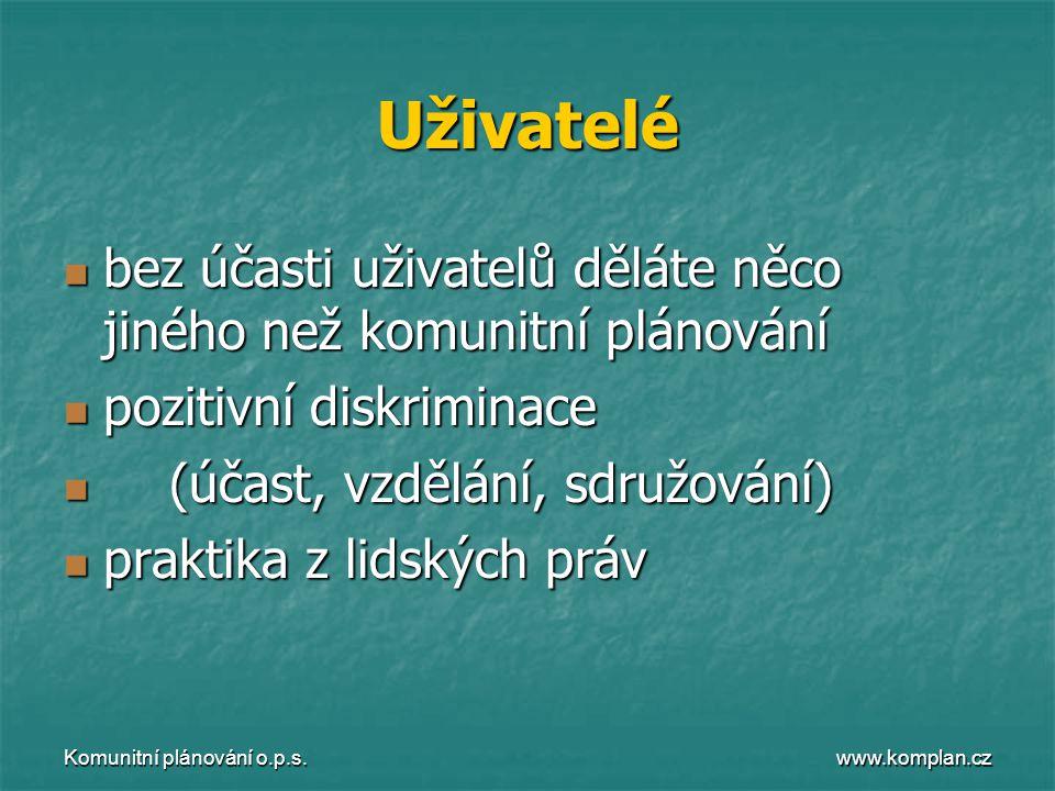www.komplan.cz Komunitní plánování o.p.s. Uživatelé  bez účasti uživatelů děláte něco jiného než komunitní plánování  pozitivní diskriminace  (účas