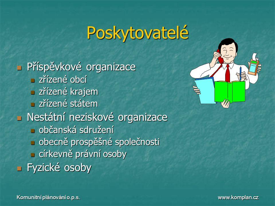 www.komplan.cz Komunitní plánování o.p.s. Poskytovatelé  Příspěvkové organizace  zřízené obcí  zřízené krajem  zřízené státem  Nestátní neziskové