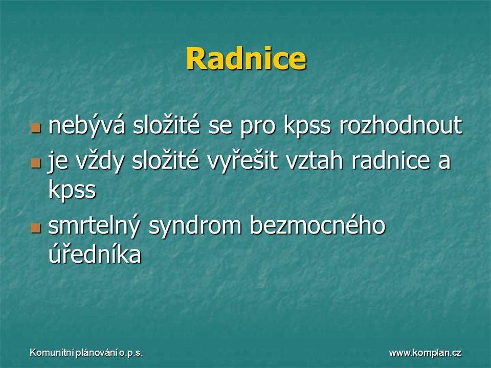 www.komplan.cz Komunitní plánování o.p.s. Radnice  nebývá složité se pro kpss rozhodnout  je vždy složité vyřešit vztah radnice a kpss  smrtelný sy