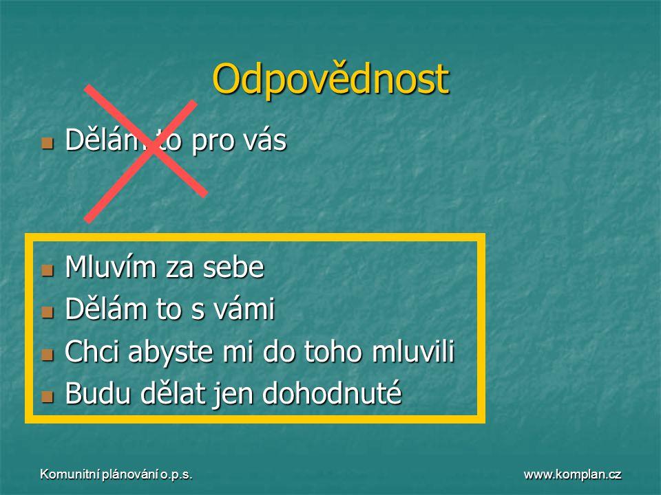www.komplan.cz Komunitní plánování o.p.s. Odpovědnost  Dělám to pro vás  Mluvím za sebe  Dělám to s vámi  Chci abyste mi do toho mluvili  Budu dě