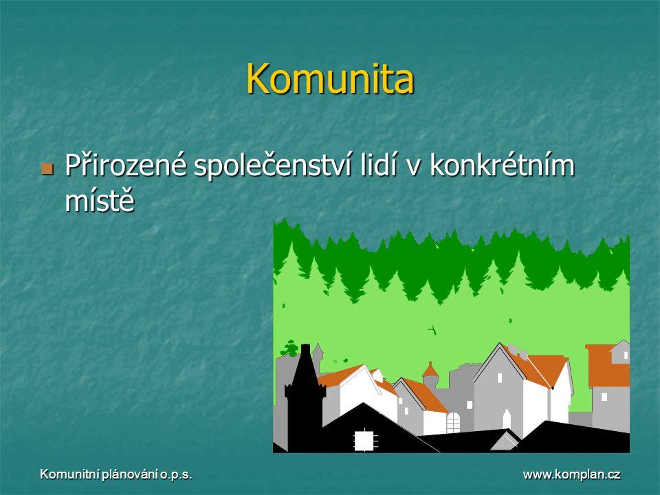 www.komplan.cz Komunitní plánování o.p.s. Komunita  Přirozené společenství lidí v konkrétním místě