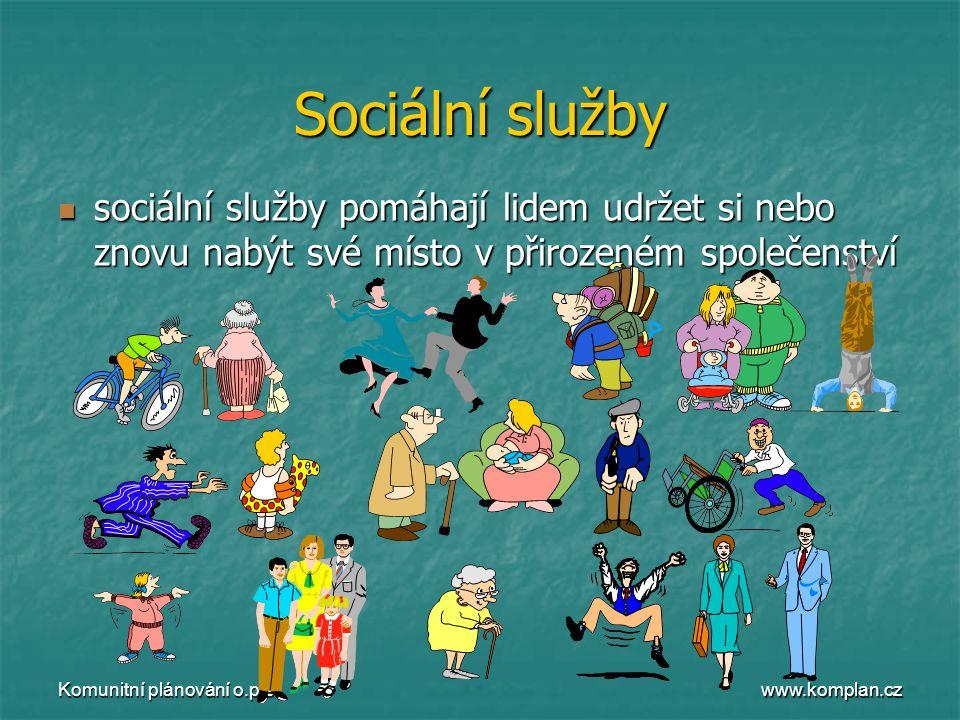 www.komplan.cz Komunitní plánování o.p.s. Sociální služby  sociální služby pomáhají lidem udržet si nebo znovu nabýt své místo v přirozeném společens