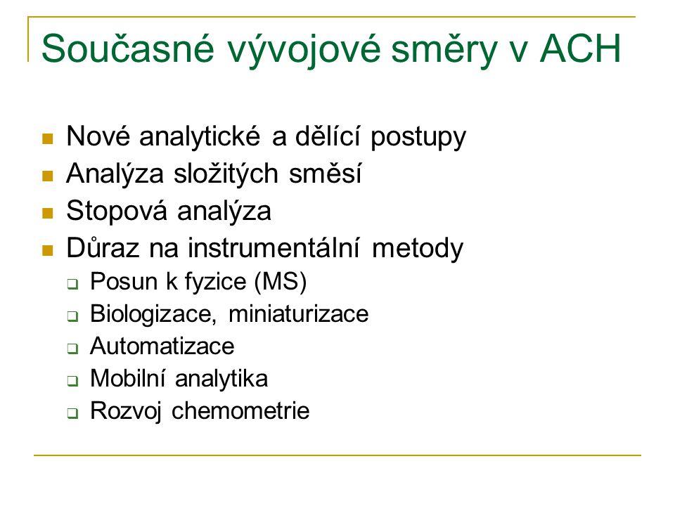 Současné vývojové směry v ACH  Nové analytické a dělící postupy  Analýza složitých směsí  Stopová analýza  Důraz na instrumentální metody  Posun