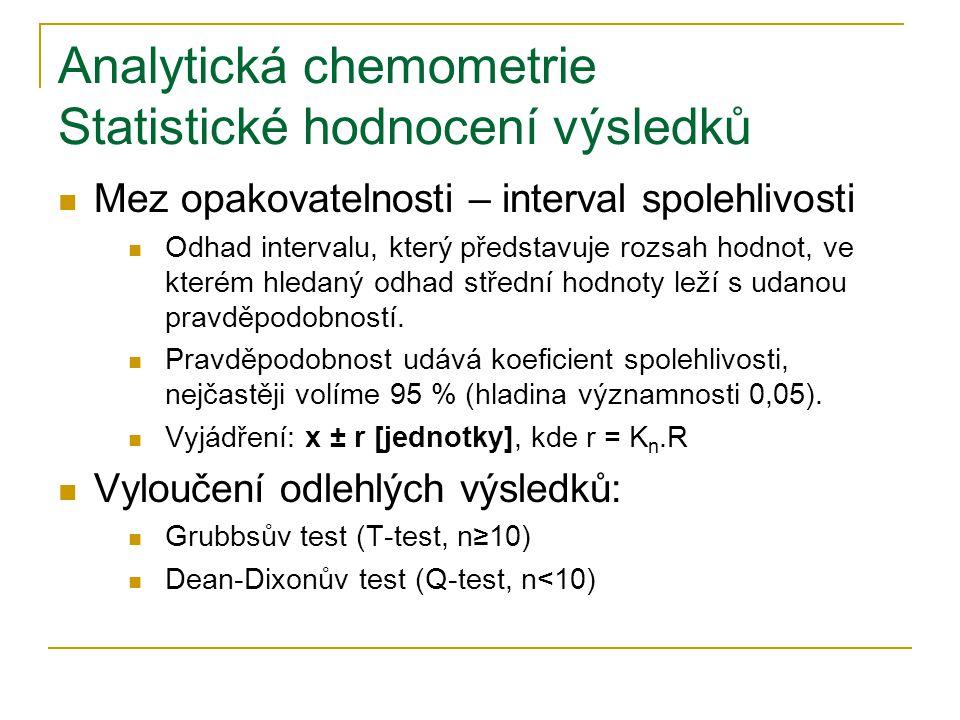 Analytická chemometrie Statistické hodnocení výsledků  Mez opakovatelnosti – interval spolehlivosti  Odhad intervalu, který představuje rozsah hodno