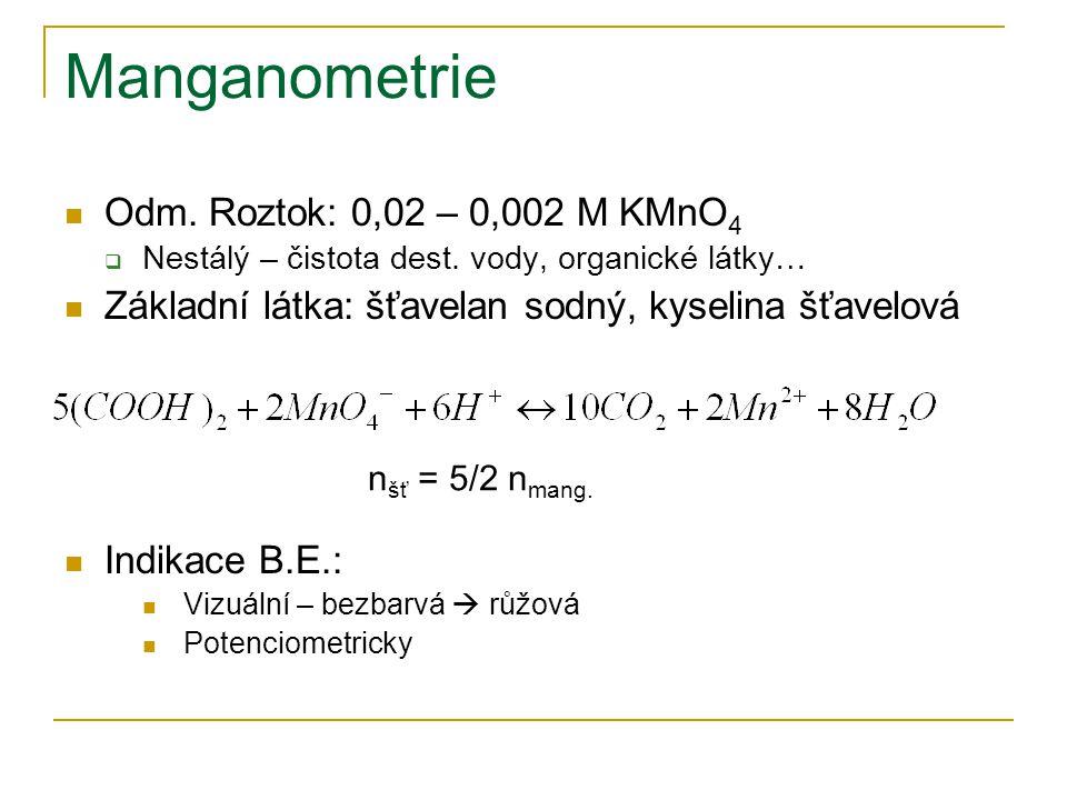 Manganometrie Aplikace  Titrace solí: Fe 2+, Sn 2+, Mn 2+  NO 2 -, H 2 O 2, organické láky  ChSK Mn  Ukazatel kvality vod  Množství kyslíku spotřebované na oxidaci org.