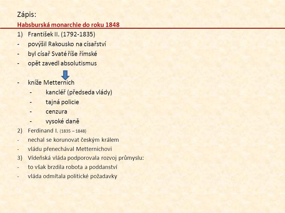 Zápis: Habsburská monarchie do roku 1848 1)František II. (1792-1835) -povýšil Rakousko na císařství -byl císař Svaté říše římské -opět zavedl absoluti