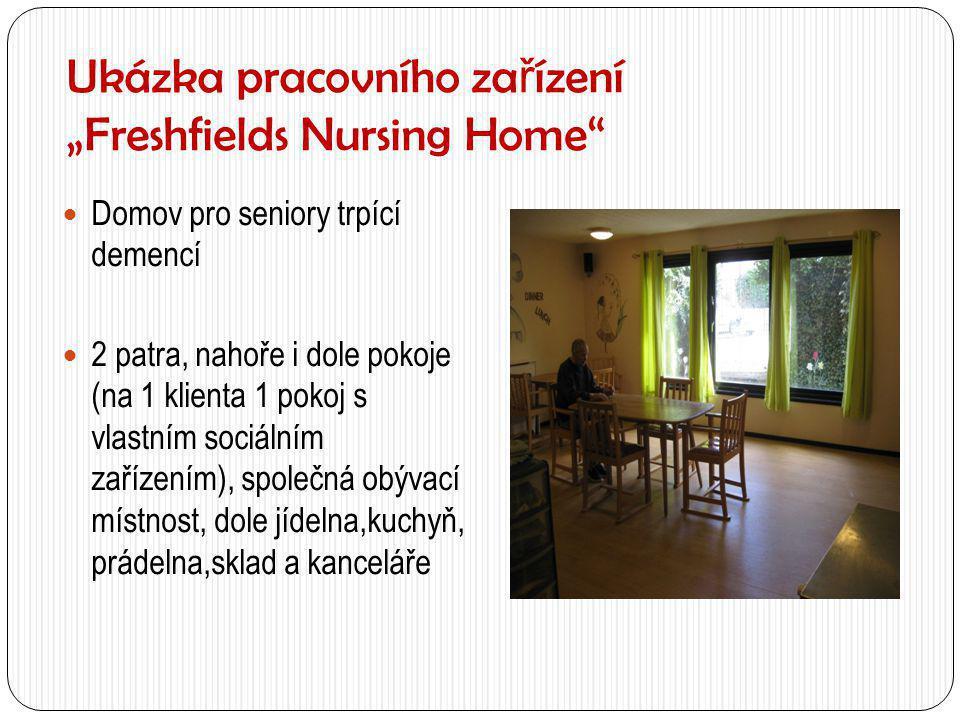 """Ukázka pracovního za ř ízení """"Freshfields Nursing Home""""  Domov pro seniory trpící demencí  2 patra, nahoře i dole pokoje (na 1 klienta 1 pokoj s vla"""