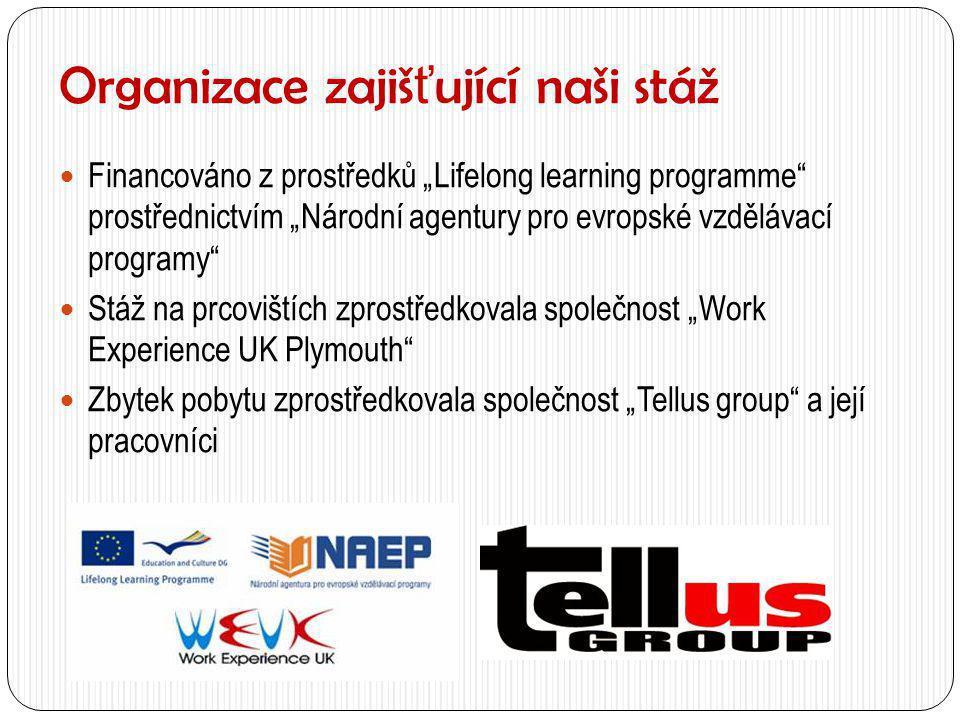 """Organizace zajiš ť ující naši stáž  Financováno z prostředků """"Lifelong learning programme"""" prostřednictvím """"Národní agentury pro evropské vzdělávací"""