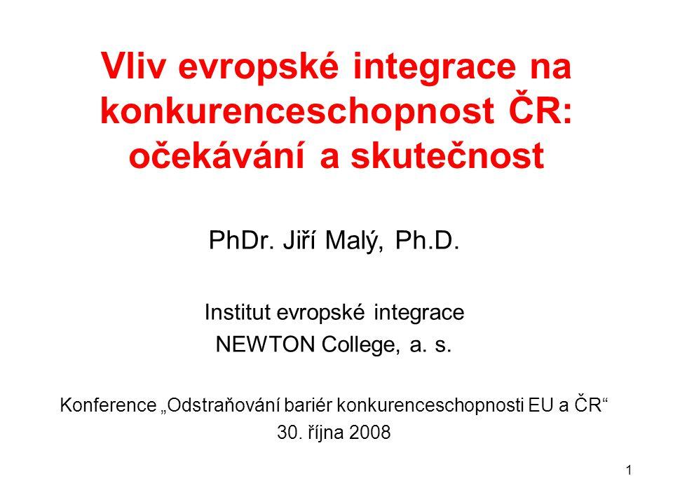 1 Vliv evropské integrace na konkurenceschopnost ČR: očekávání a skutečnost PhDr.