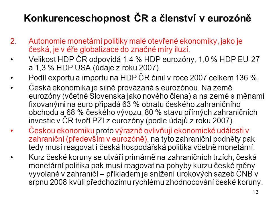 13 Konkurenceschopnost ČR a členství v eurozóně 2.Autonomie monetární politiky malé otevřené ekonomiky, jako je česká, je v éře globalizace do značné
