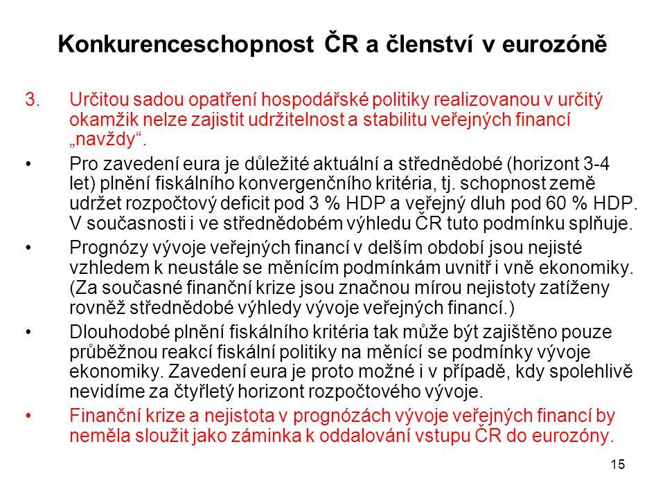 """15 Konkurenceschopnost ČR a členství v eurozóně 3.Určitou sadou opatření hospodářské politiky realizovanou v určitý okamžik nelze zajistit udržitelnost a stabilitu veřejných financí """"navždy ."""