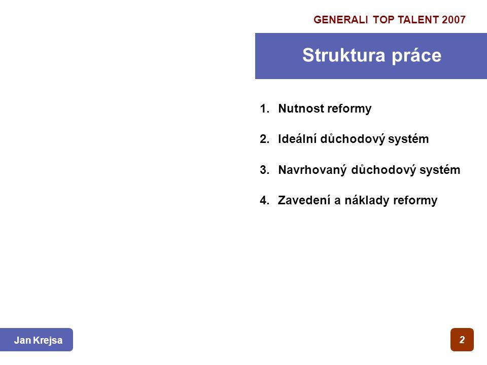 1.Nutnost reformy 2.Ideální důchodový systém 3.Navrhovaný důchodový systém 4.Zavedení a náklady reformy 2 Struktura práce GENERALI TOP TALENT 2007