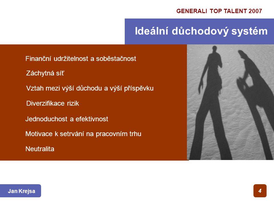 GENERALI TOP TALENT 2007 Ideální důchodový systém Jan Krejsa 4 Finanční udržitelnost a soběstačnost Záchytná síť Vztah mezi výší důchodu a výší příspěvku Diverzifikace rizik Jednoduchost a efektivnost Motivace k setrvání na pracovním trhu Neutralita