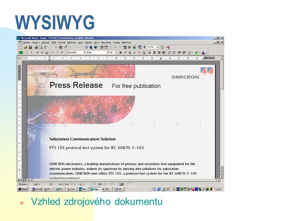 WYSIWYG n Vzhled zdrojového dokumentu