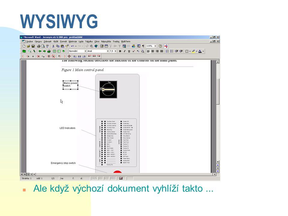 WYSIWYG n Ale když výchozí dokument vyhlíží takto...