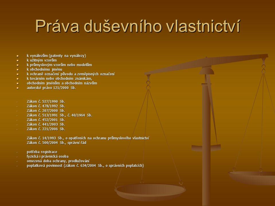 Práva duševního vlastnictví  k vynálezům (patenty na vynálezy)  k užitným vzorům  k průmyslovým vzorům nebo modelům  k obchodnímu jménu  k ochran