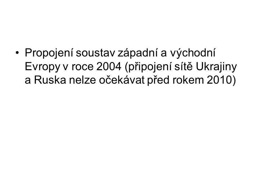 •Propojení soustav západní a východní Evropy v roce 2004 (připojení sítě Ukrajiny a Ruska nelze očekávat před rokem 2010)