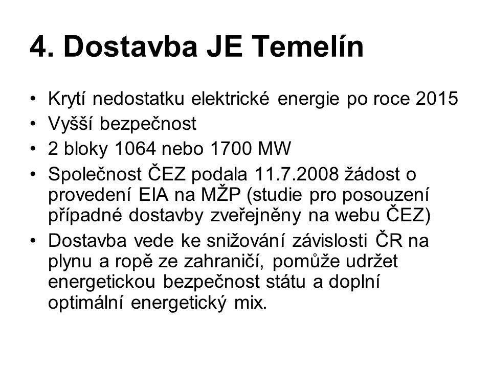 4. Dostavba JE Temelín •Krytí nedostatku elektrické energie po roce 2015 •Vyšší bezpečnost •2 bloky 1064 nebo 1700 MW •Společnost ČEZ podala 11.7.2008
