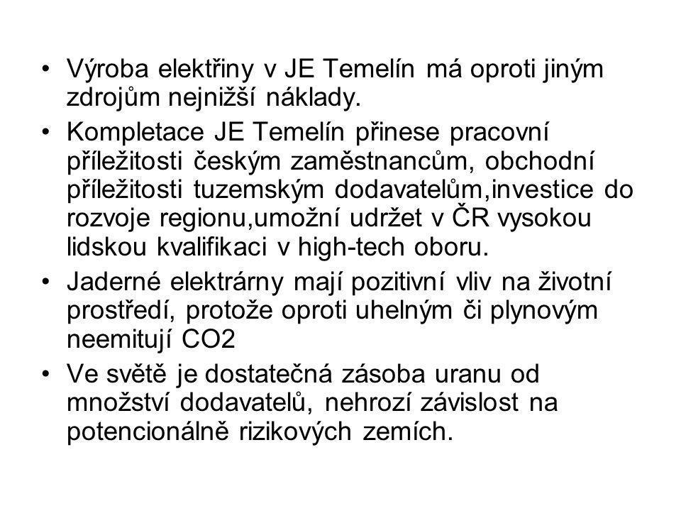 •Výroba elektřiny v JE Temelín má oproti jiným zdrojům nejnižší náklady. •Kompletace JE Temelín přinese pracovní příležitosti českým zaměstnancům, obc