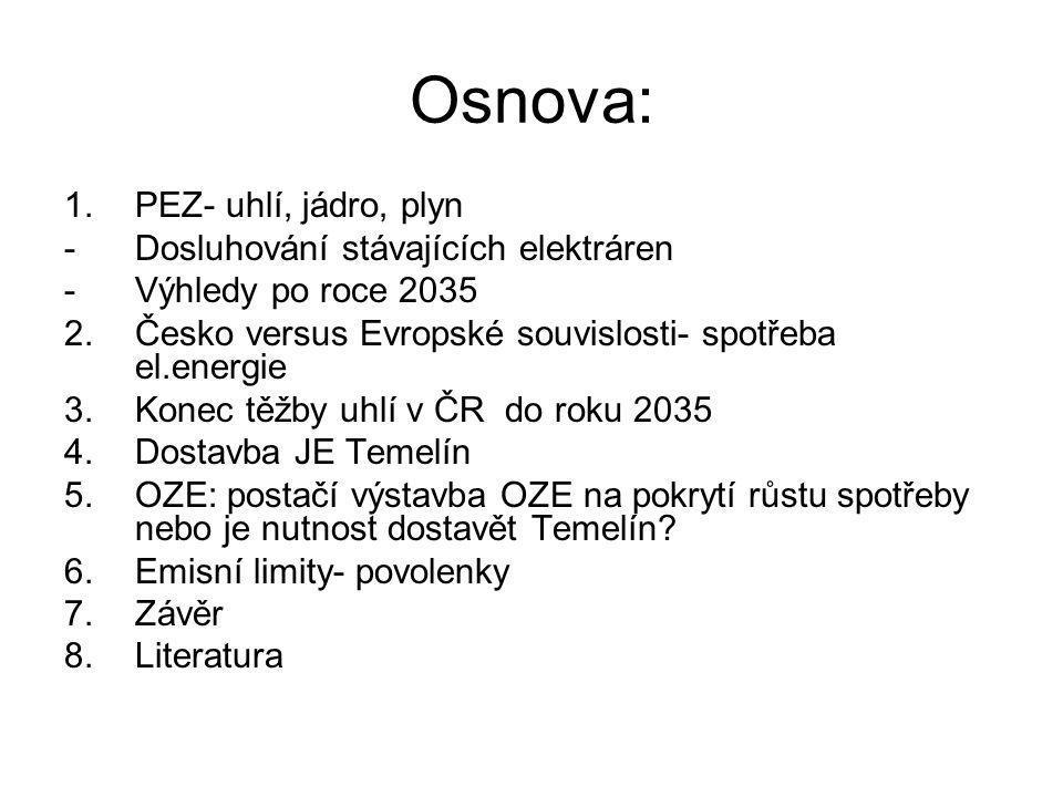 Osnova: 1.PEZ- uhlí, jádro, plyn -Dosluhování stávajících elektráren -Výhledy po roce 2035 2.Česko versus Evropské souvislosti- spotřeba el.energie 3.Konec těžby uhlí v ČR do roku 2035 4.Dostavba JE Temelín 5.OZE: postačí výstavba OZE na pokrytí růstu spotřeby nebo je nutnost dostavět Temelín.