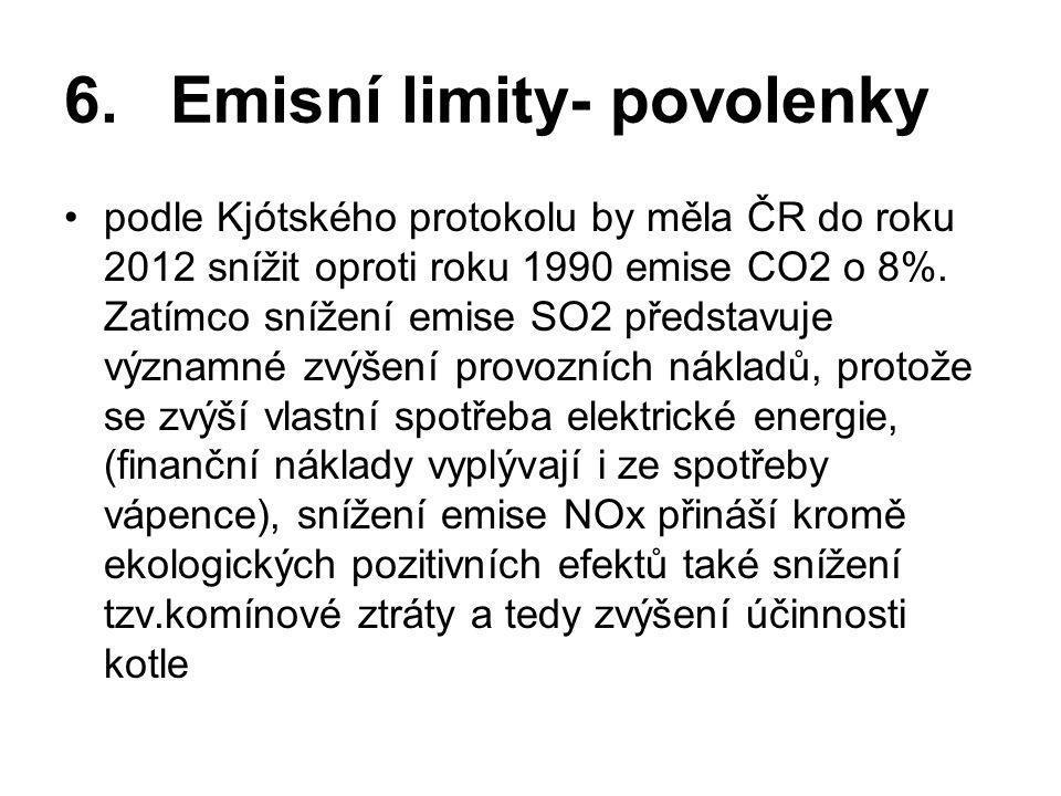 6.Emisní limity- povolenky •podle Kjótského protokolu by měla ČR do roku 2012 snížit oproti roku 1990 emise CO2 o 8%. Zatímco snížení emise SO2 předst