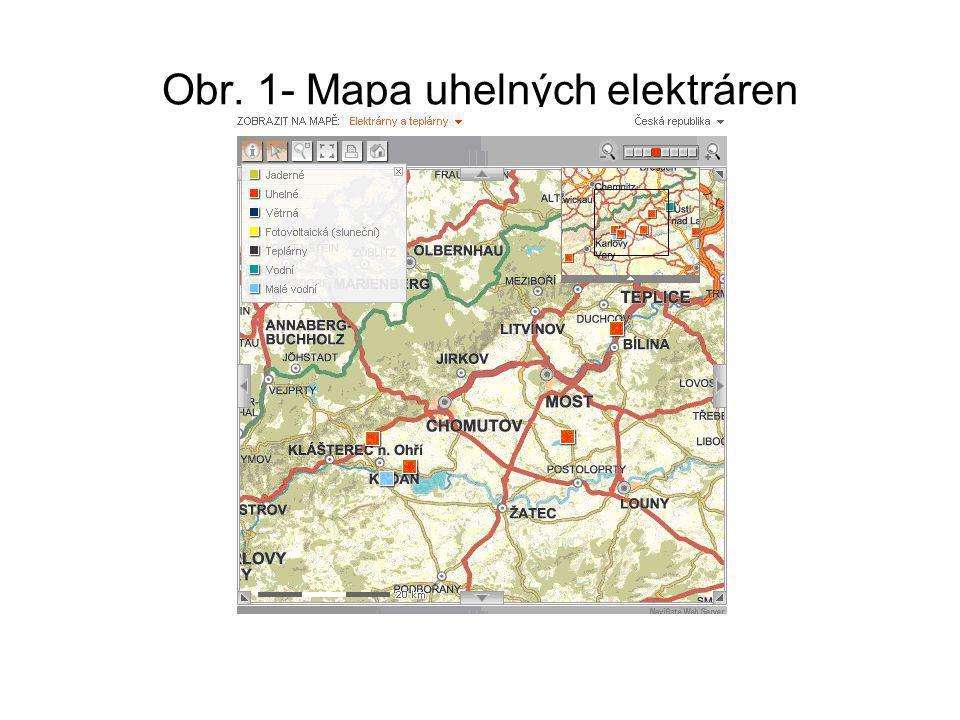 Obr. 1- Mapa uhelných elektráren