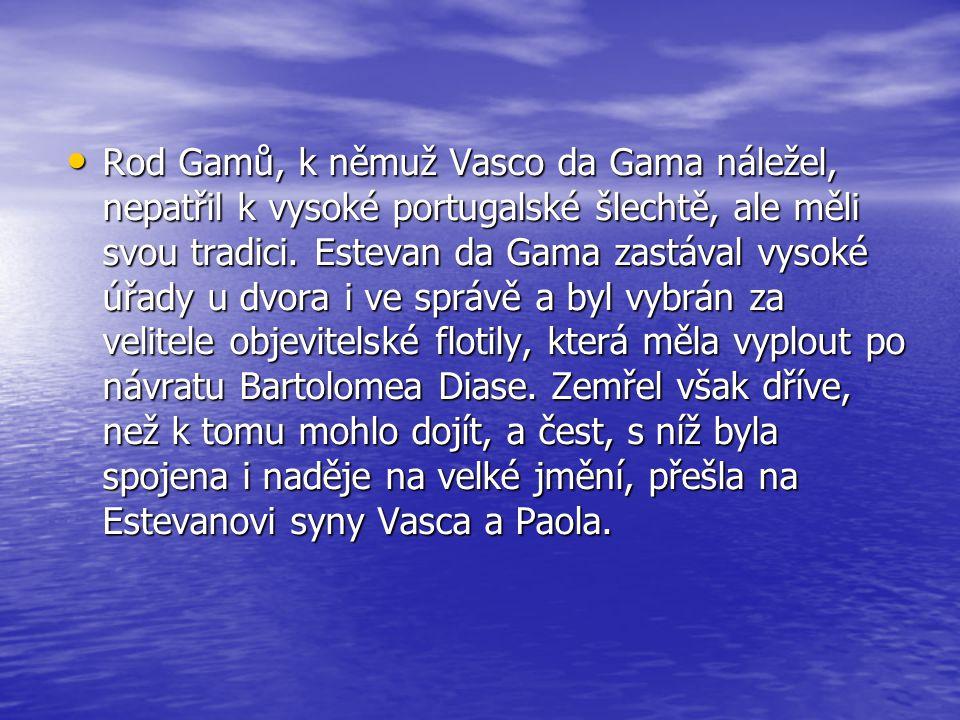 •R•R•R•Rod Gamů, k němuž Vasco da Gama náležel, nepatřil k vysoké portugalské šlechtě, ale měli svou tradici. Estevan da Gama zastával vysoké úřady u