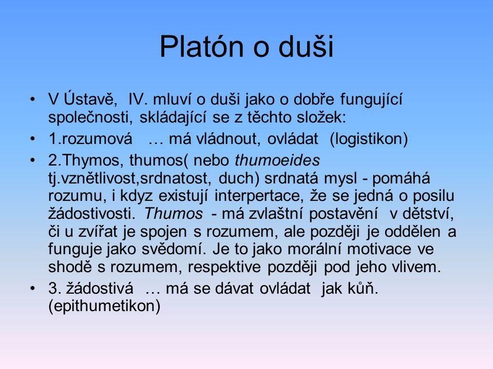 Platón o duši •V Ústavě, IV.