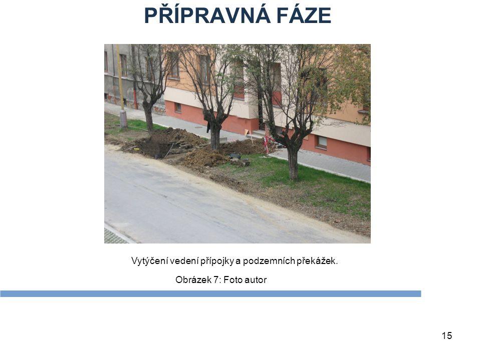 15 Obrázek 7: Foto autor PŘÍPRAVNÁ FÁZE Vytýčení vedení přípojky a podzemních překážek.