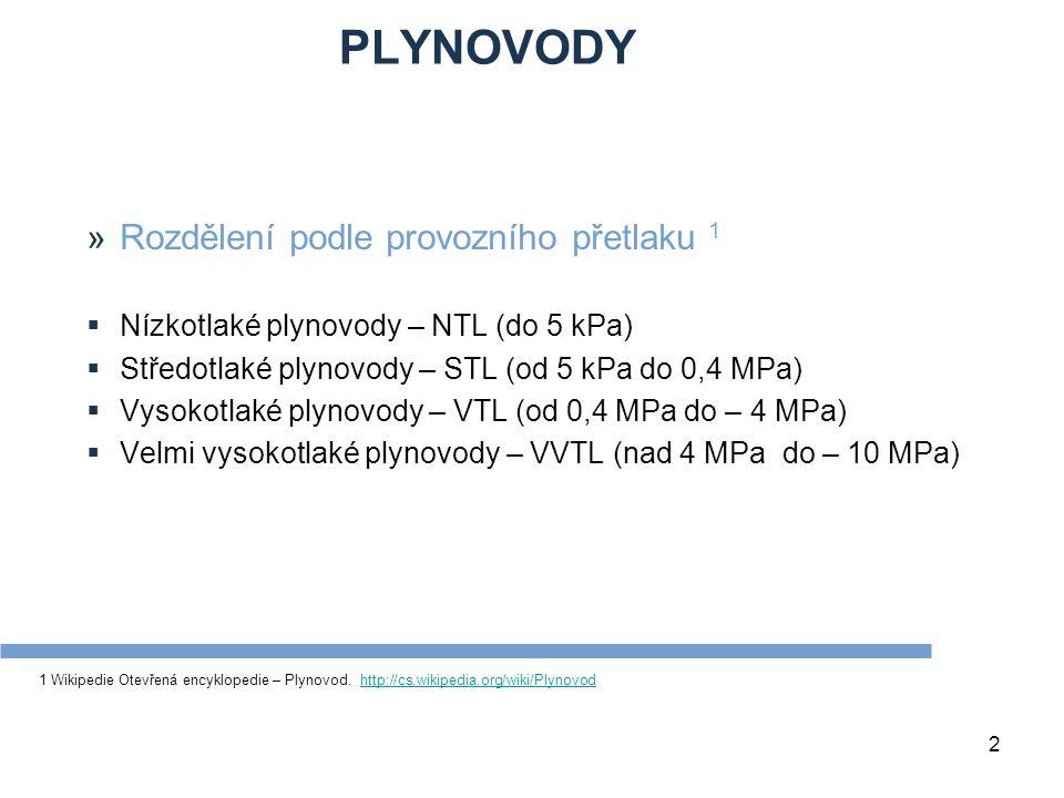 PLYNOVODY 2 »Rozdělení podle provozního přetlaku 1  Nízkotlaké plynovody – NTL (do 5 kPa)  Středotlaké plynovody – STL (od 5 kPa do 0,4 MPa)  Vysok