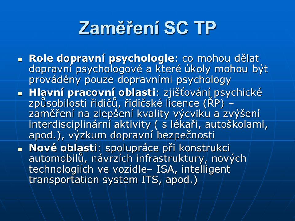 Zaměření SC TP  Role dopravní psychologie: co mohou dělat dopravní psychologové a které úkoly mohou být prováděny pouze dopravními psychology  Hlavn
