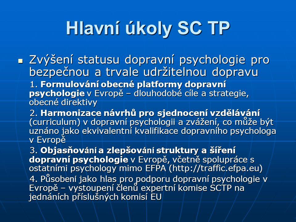 Hlavní úkoly SC TP  Zvýšení statusu dopravní psychologie pro bezpečnou a trvale udržitelnou dopravu 1. Formulování obecné platformy dopravní psycholo