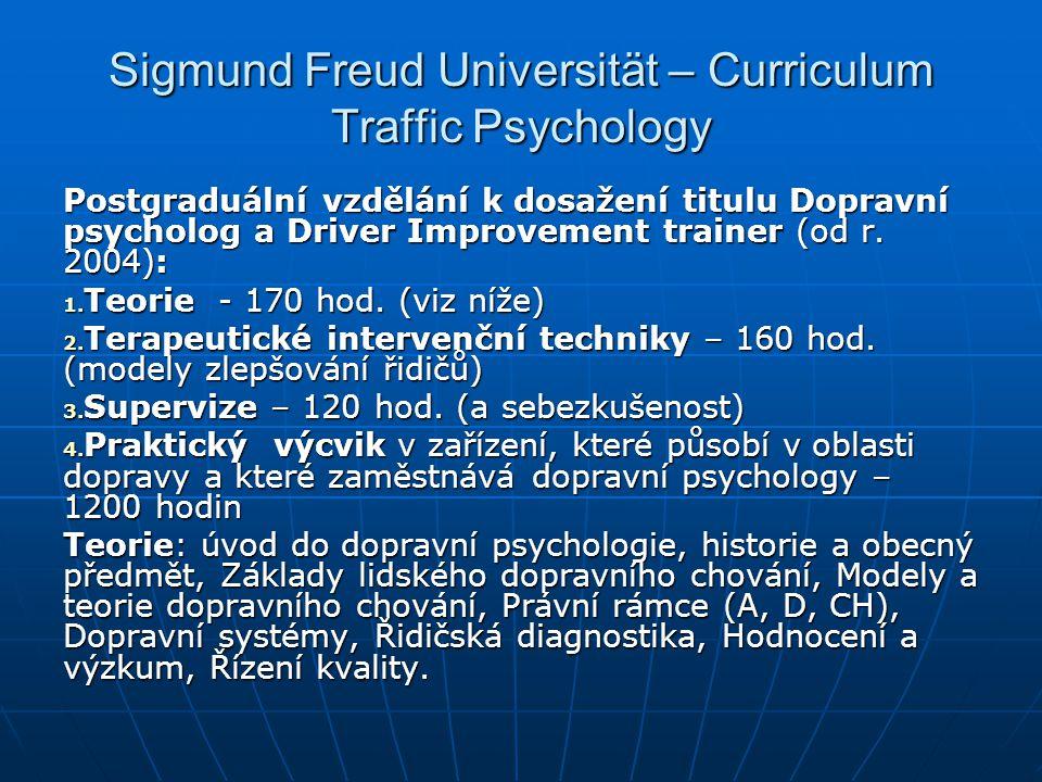 Sigmund Freud Universität – Curriculum Traffic Psychology Postgraduální vzdělání k dosažení titulu Dopravní psycholog a Driver Improvement trainer (od
