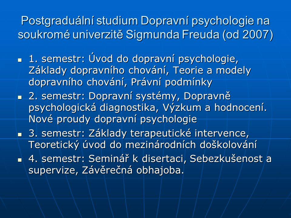 Postgraduální studium Dopravní psychologie na soukromé univerzitě Sigmunda Freuda (od 2007)  1. semestr: Úvod do dopravní psychologie, Základy doprav