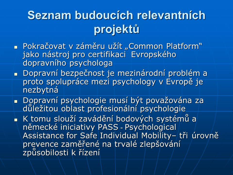 """Seznam budoucích relevantních projektů  Pokračovat v záměru užít """"Common Platform"""" jako nástroj pro certifikaci Evropského dopravního psychologa  Do"""