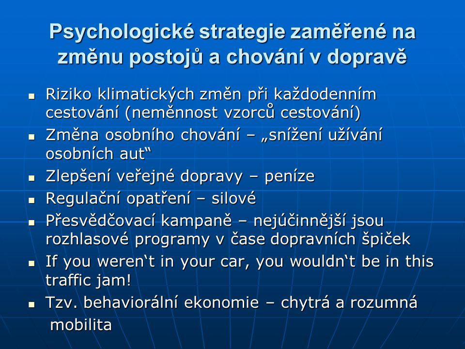 Psychologické strategie zaměřené na změnu postojů a chování v dopravě  Riziko klimatických změn při každodenním cestování (neměnnost vzorců cestování
