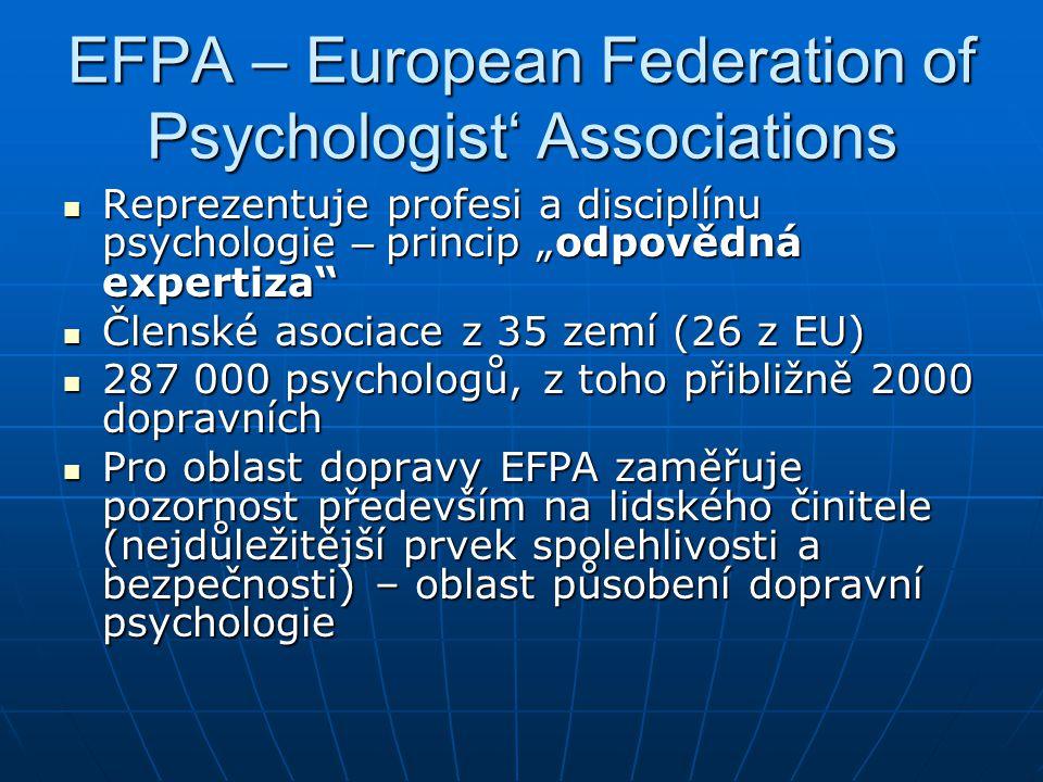 """EFPA – European Federation of Psychologist' Associations  Reprezentuje profesi a disciplínu psychologie – princip """"odpovědná expertiza""""  Členské aso"""
