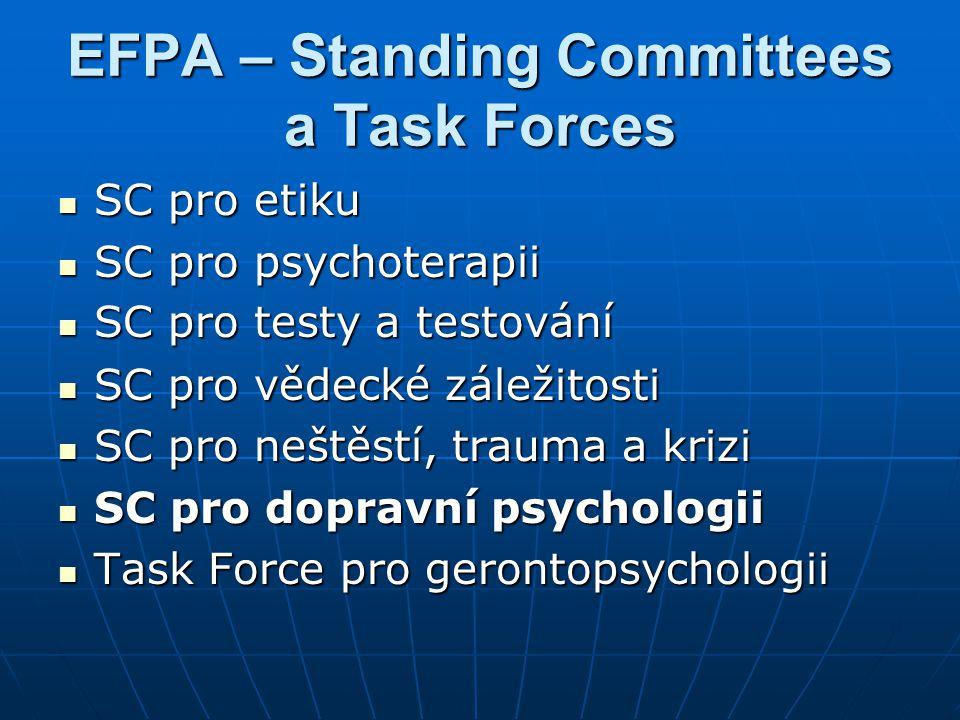 Standing Committee Traffic Psychology (SCTP)  Založen v Tampere v r.1993 při EFPA jako Task Force TP, od r.