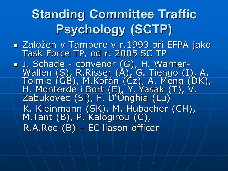 Standing Committee Traffic Psychology (SCTP)  Založen v Tampere v r.1993 při EFPA jako Task Force TP, od r. 2005 SC TP  J. Schade - convenor (G), H.