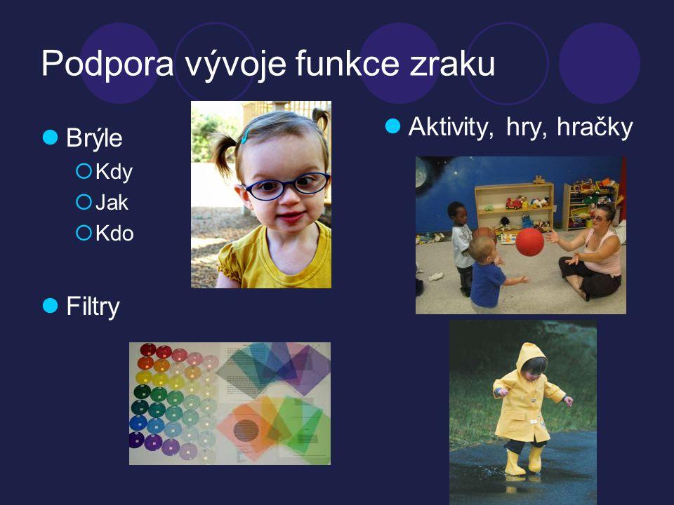 Podpora vývoje funkce zraku  Brýle  Kdy  Jak  Kdo  Filtry  Aktivity, hry, hračky